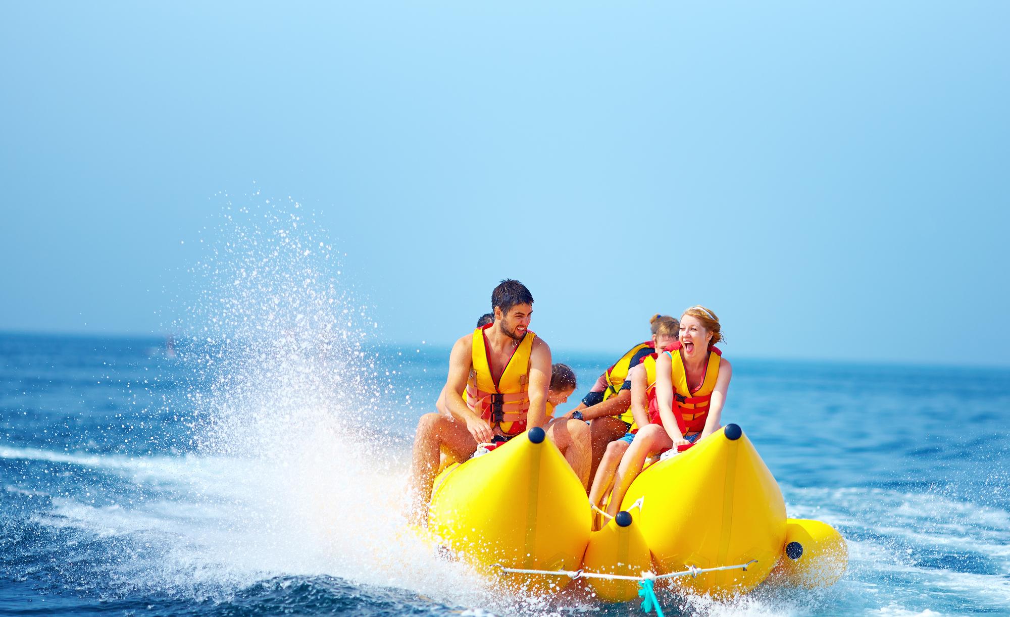 Banana boat ride with friends in Boracay Island