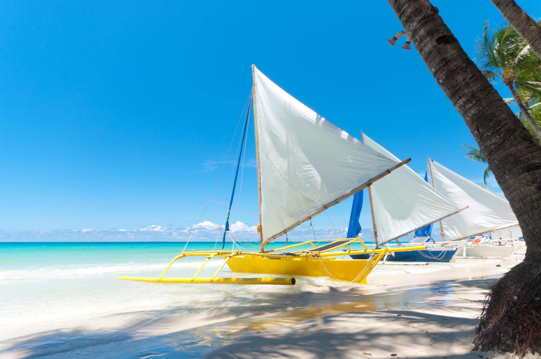 Paraw sailing boats in Boracay Island