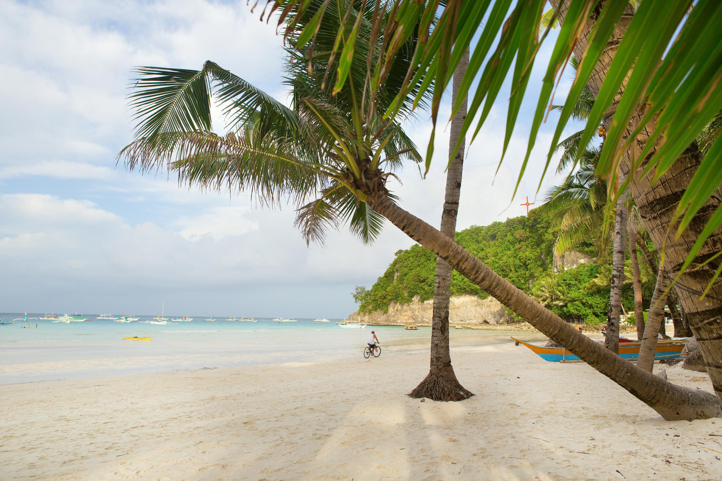 Famous white sand beach of Boracay Island