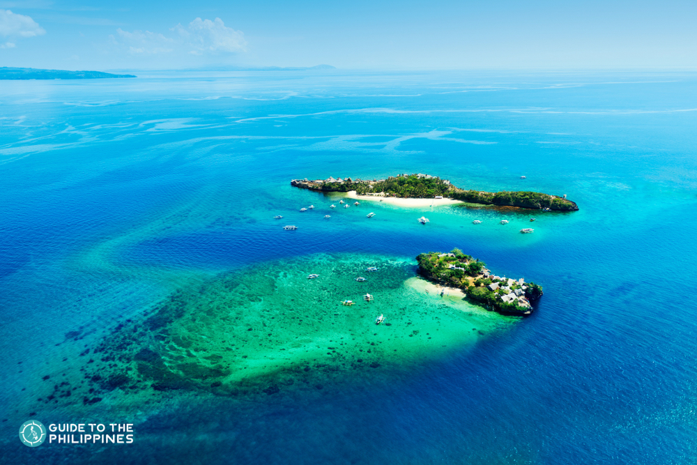 Aerial view of Magic Island in Boracay