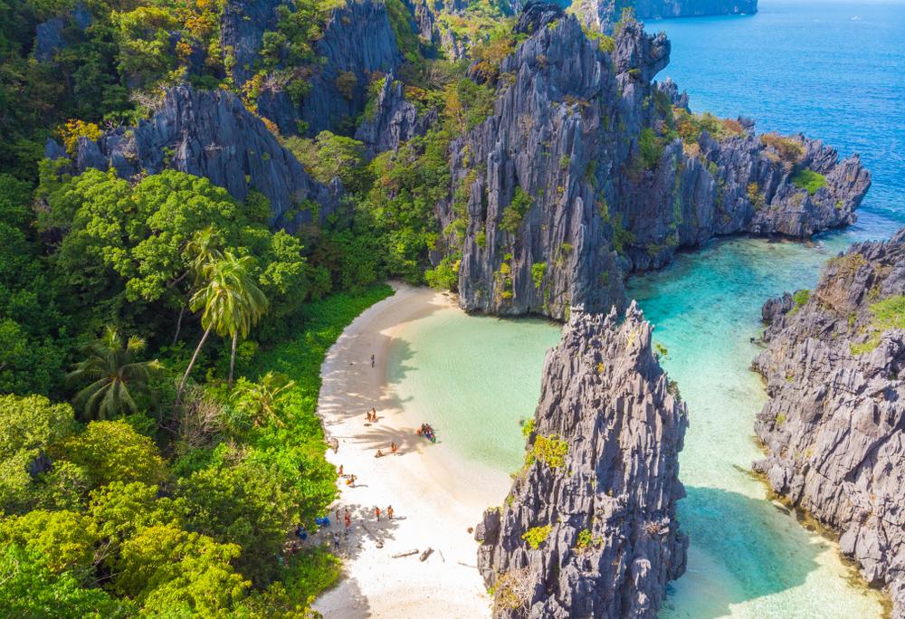 Scenic view of Hidden Beach in Palawan