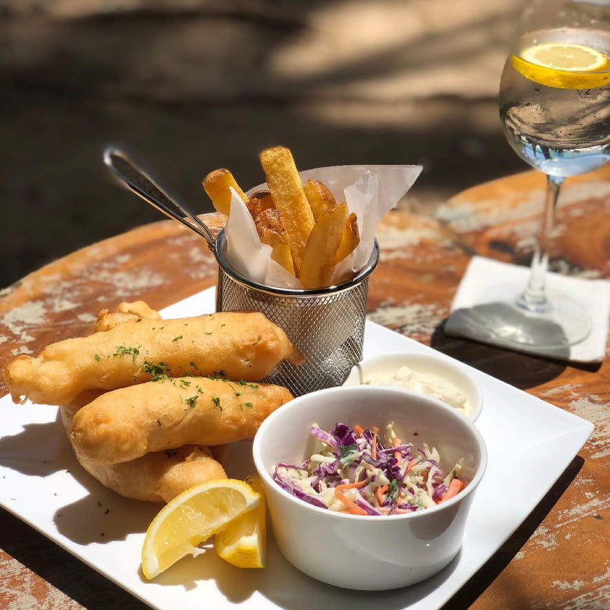 Dinibeach Bar and Restaurant's fish and chips
