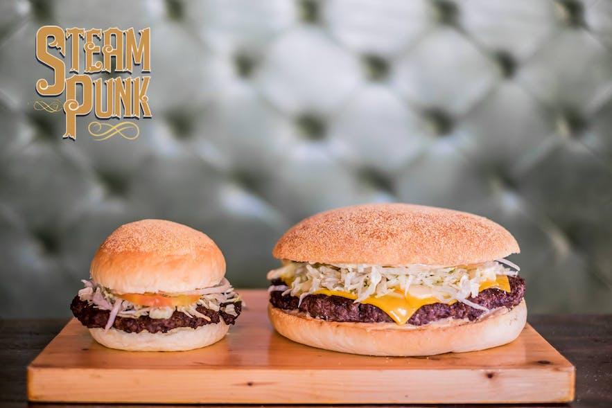 Steampunk Burgers' regular and triple x burger