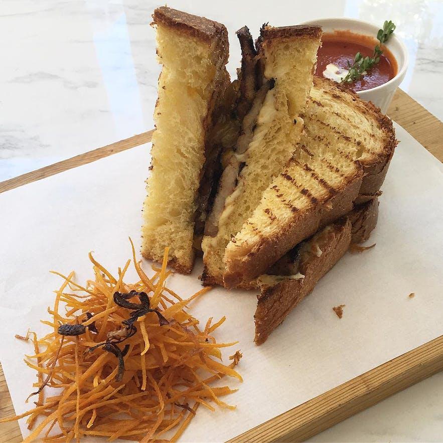 Sunny Side Cafe's bacon and mango sandwich