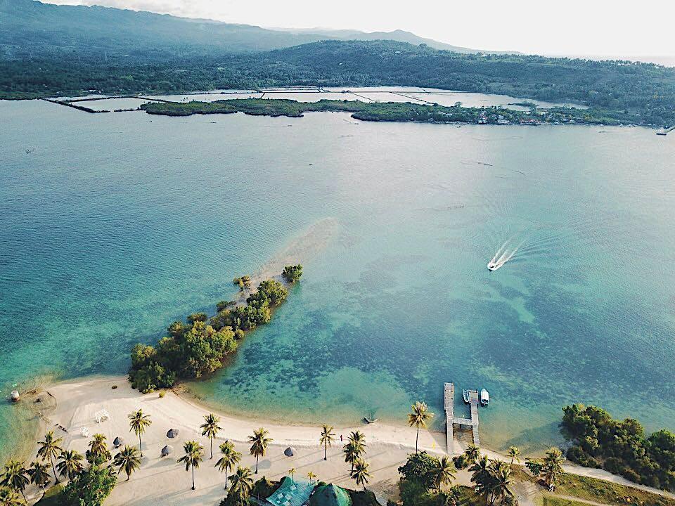 Aerial beach view of Badian Island Wellness Resort