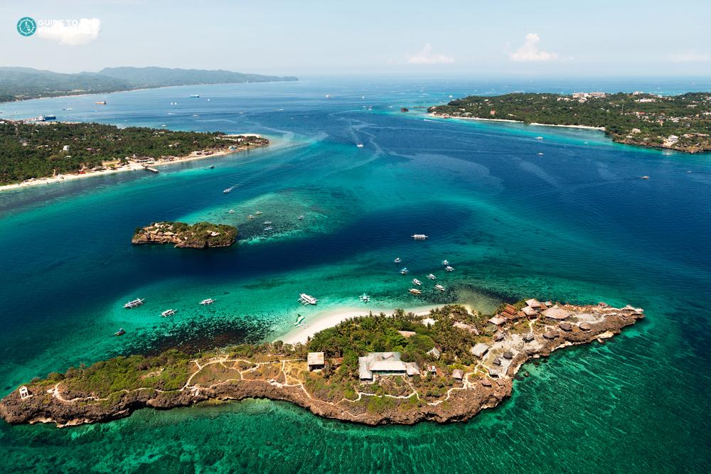 Aerial view of Crocodile Island in Boracay