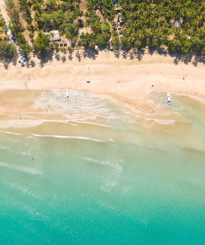 Aerial view of Nagtabon beach in Puerto Princesa