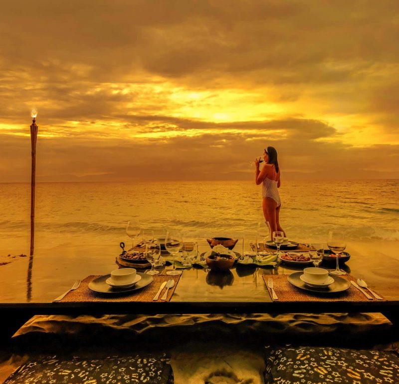 Golden hour at the beachfront of Club Serena Resort Moalboal