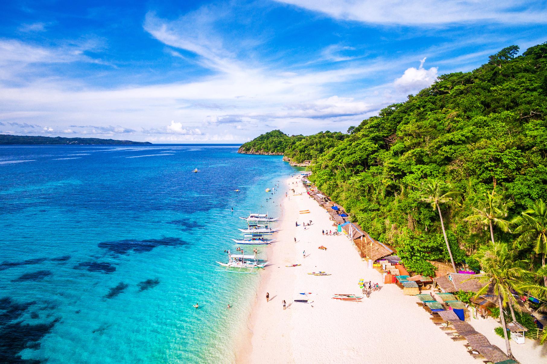 Famous powdery white sand beach of Boracay Island