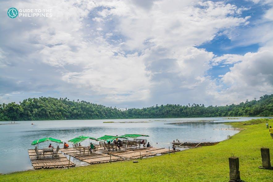 Bamboo cottages on Yambo Lake, Laguna