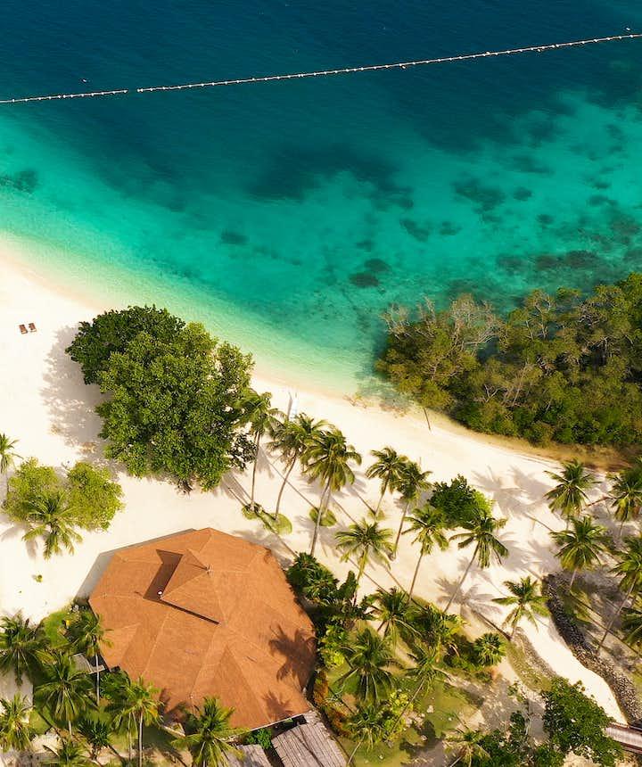 Aerial view of Malipano Island in Samal
