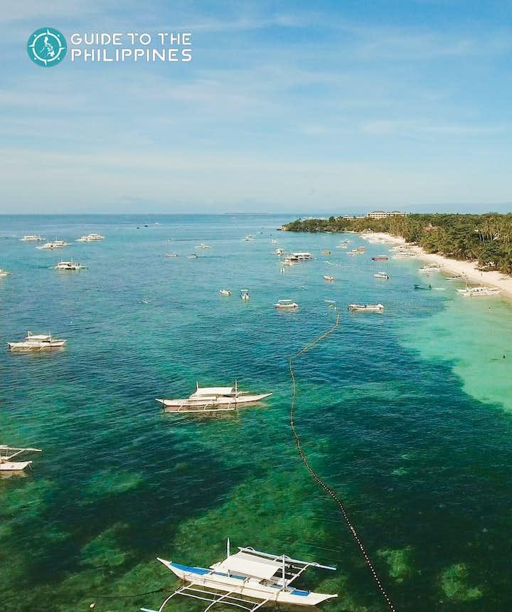 Aerial view of Alona Beach, Bohol