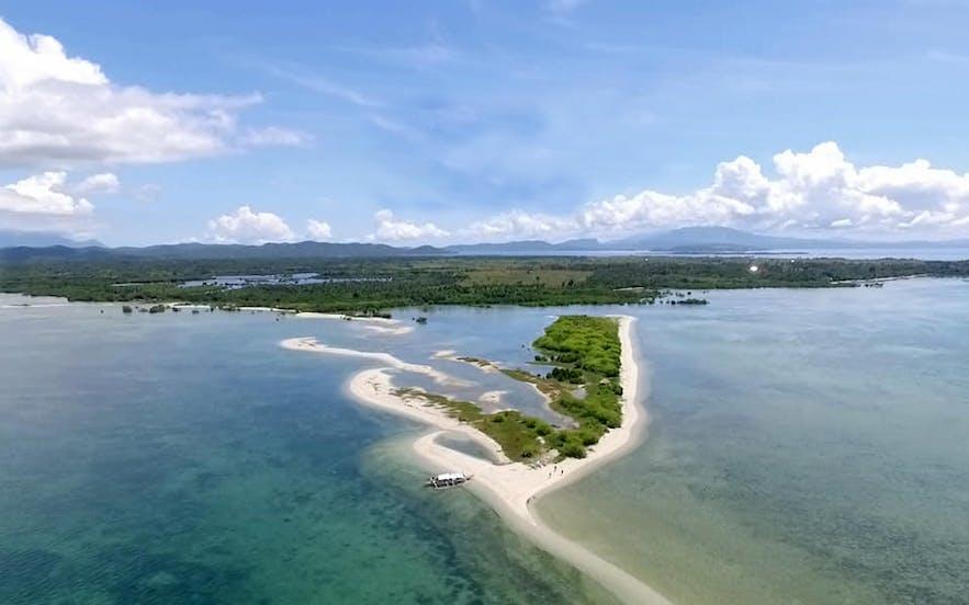 Aerial view of Panumbagan Sandbar