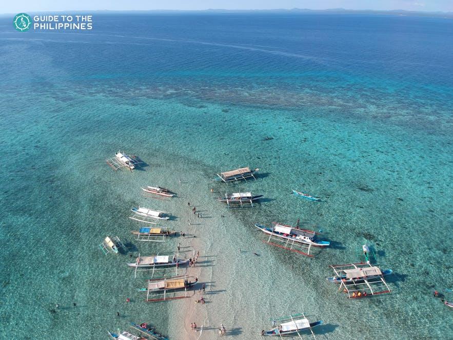 Aerial view of Palad Sandbar