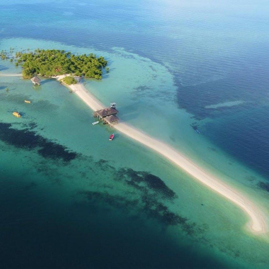 Aerial view of Buntod Reef Marine Sanctuary and Sandbar
