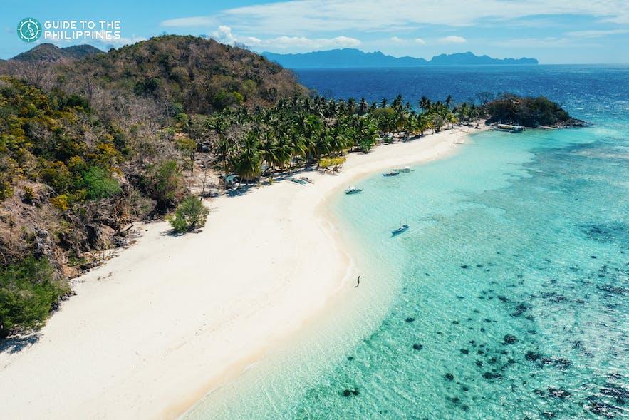 Aerial shot of Malcapuya Island
