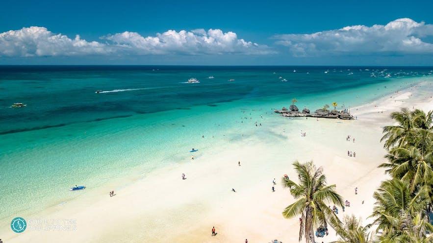 Aerial shot of White Beach, Boracay