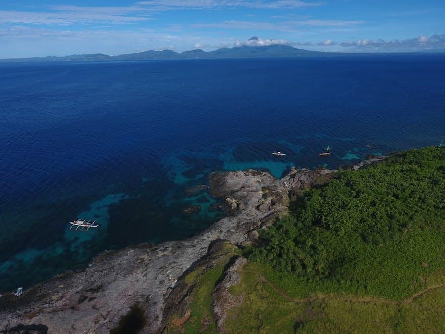 Aerial view of San Bernardino Island's coast