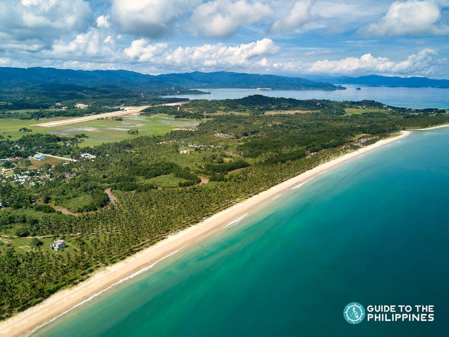 Aerial view of Long Beach in Palawan Island