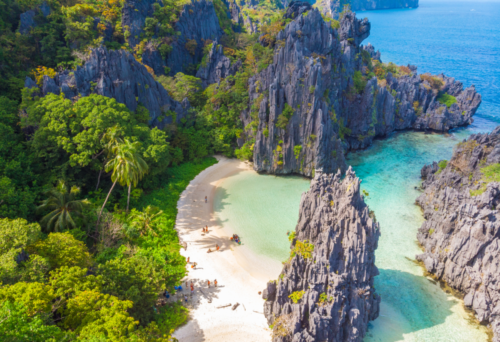 The natural wonder rock formation in the Islands of Palawan
