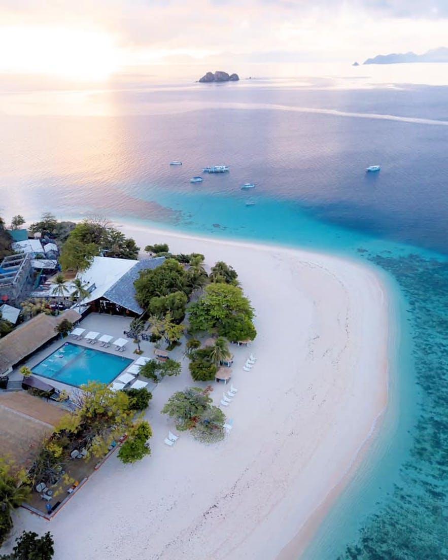 Aerial view of Club Paradise's beachside pool