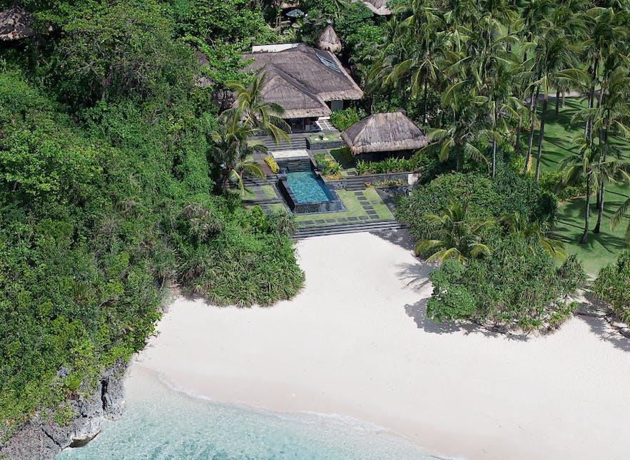 Aerial view of a beachside villa in Shangri-La's Boracay Resort & Spa