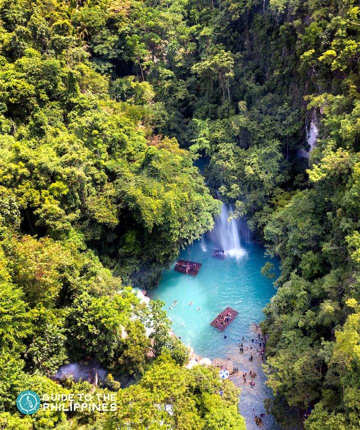 Aerial view of Kawasan Falls