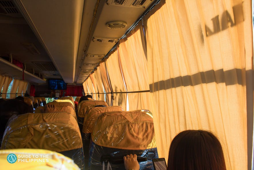 Inside a bus in the Philippines