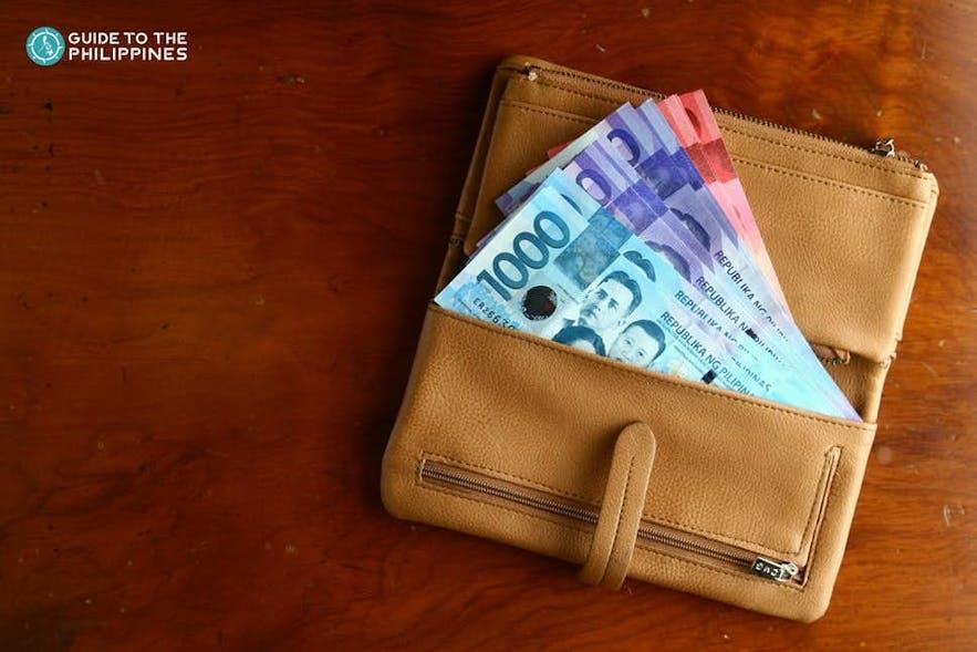 Peso bills in a wallet