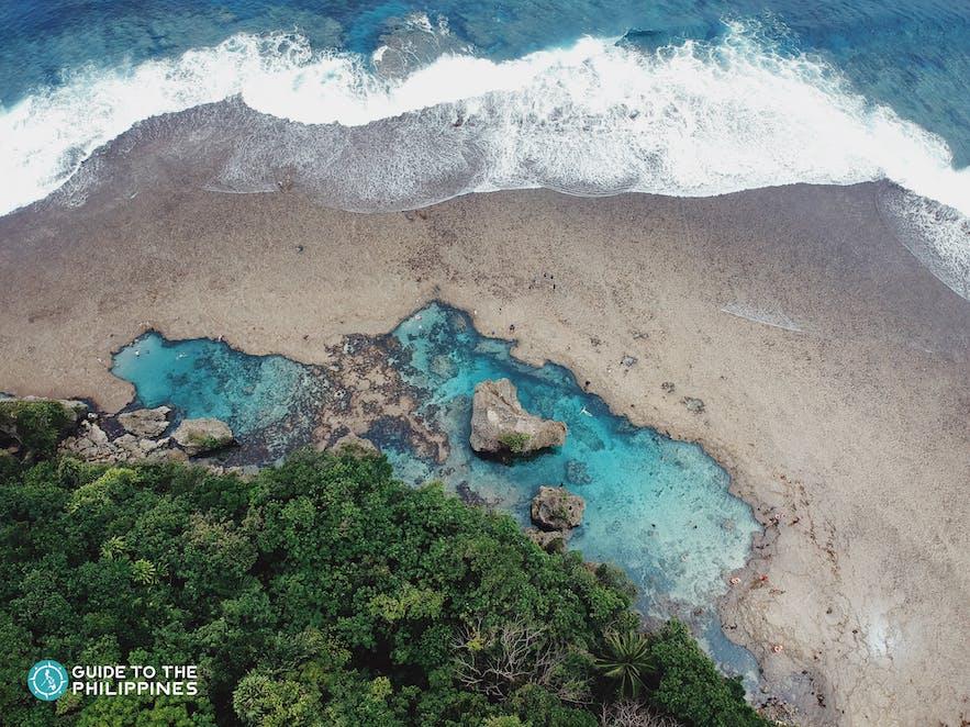 Drone shot of Magpupungko Rock Pools